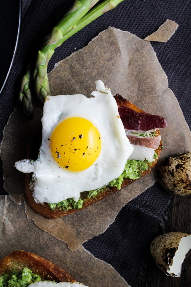Duck Fat Toasts with Quail Eggs and Asparagus Pesto {Katie at the Kitchen Door}