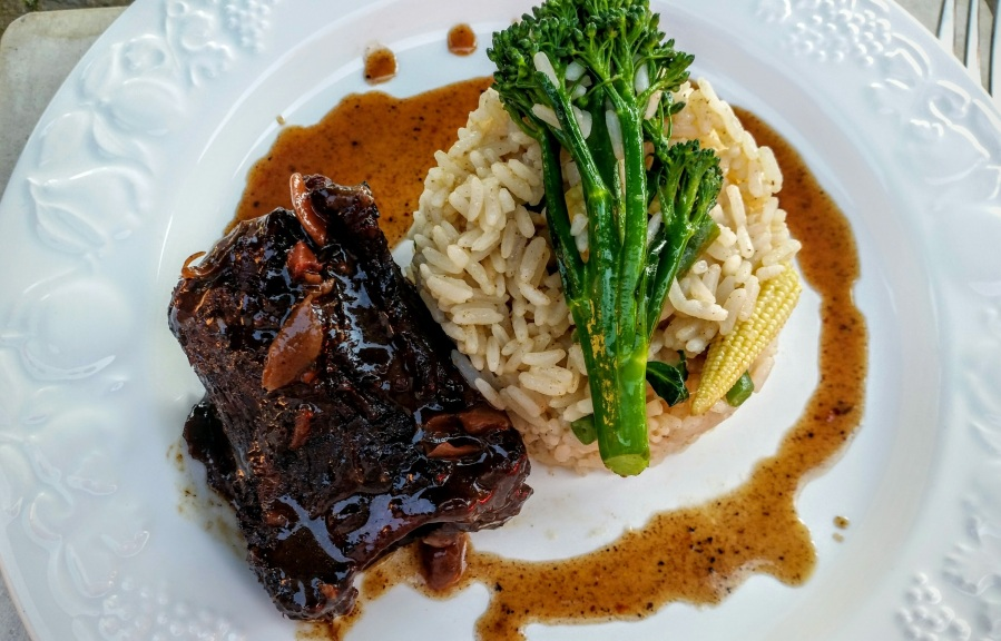 Braised short ribs in Plum Sauce